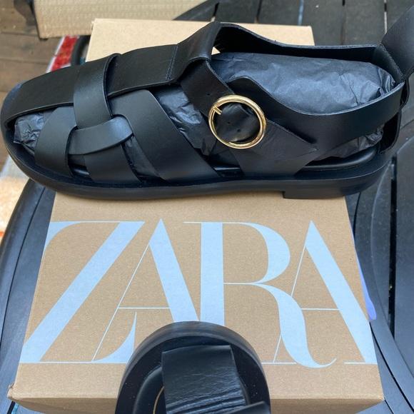 Zara Fisherman Sandals-Black